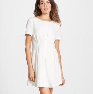 LUCCA Fit & Flair White Dress Short Sleeve Mini Sm